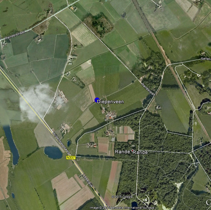 The approximate fall location of the Diepenveen meteorite