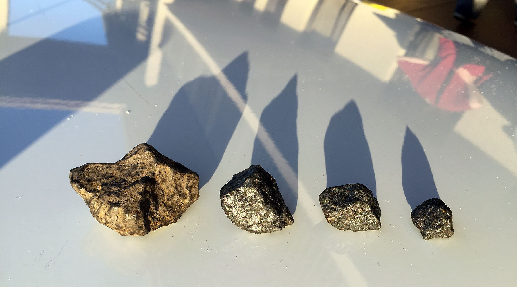 Four of the six Osceola meteorites / photo: Larry Atkins