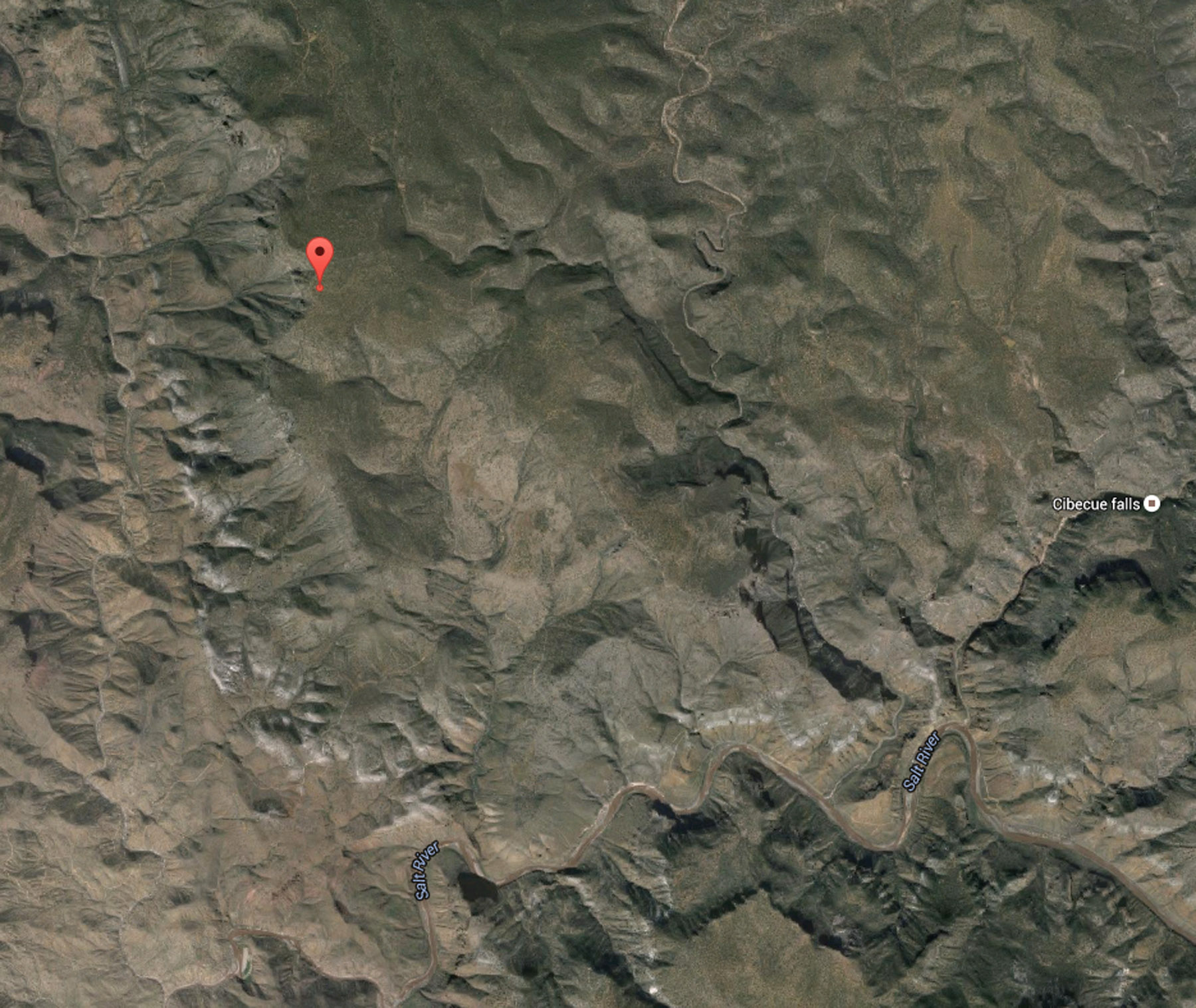 Area of possible strewnfield on Apache territory (west of Canyon Creek, north of salt River) with fall location of the 29.35 g mass