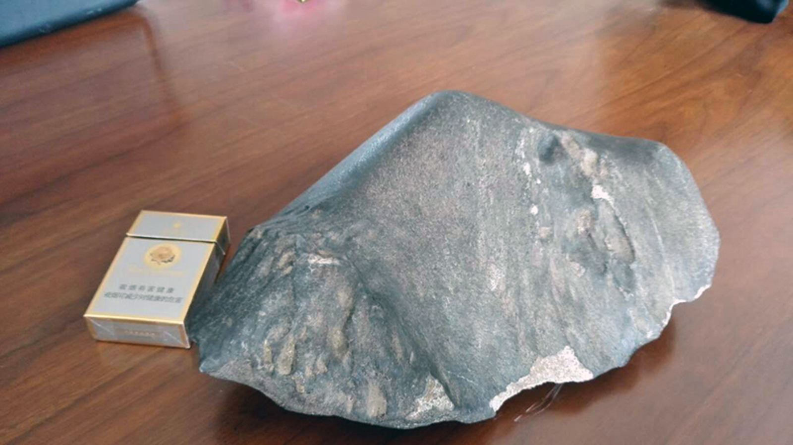 The leading side of the meteorite with its regmaglypts. / Photo: 世界陨石论坛 www.syunshi.cn