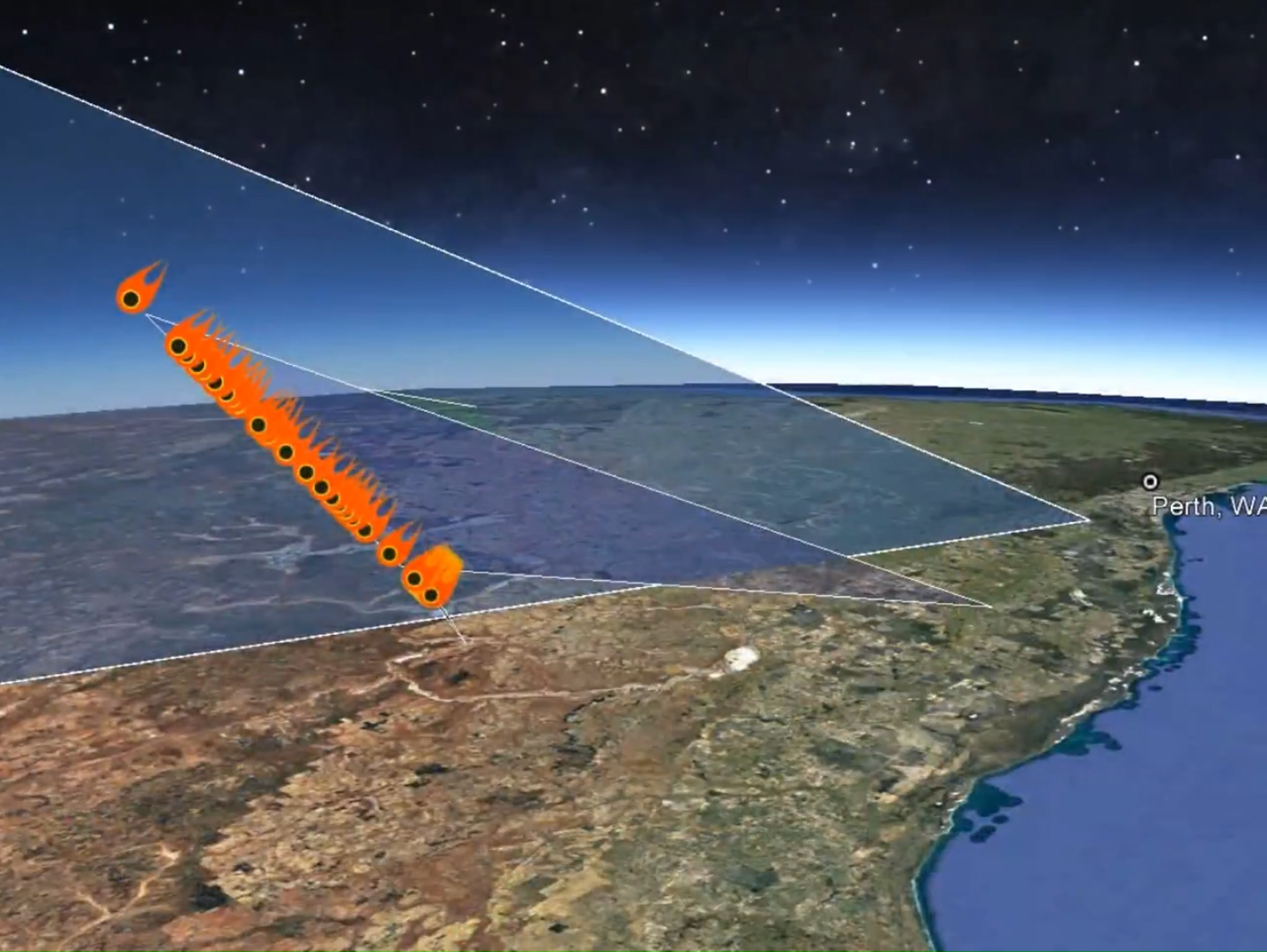 Graphic representation of the calculated Morawa bolide trajectory. / Photo: Curtin University