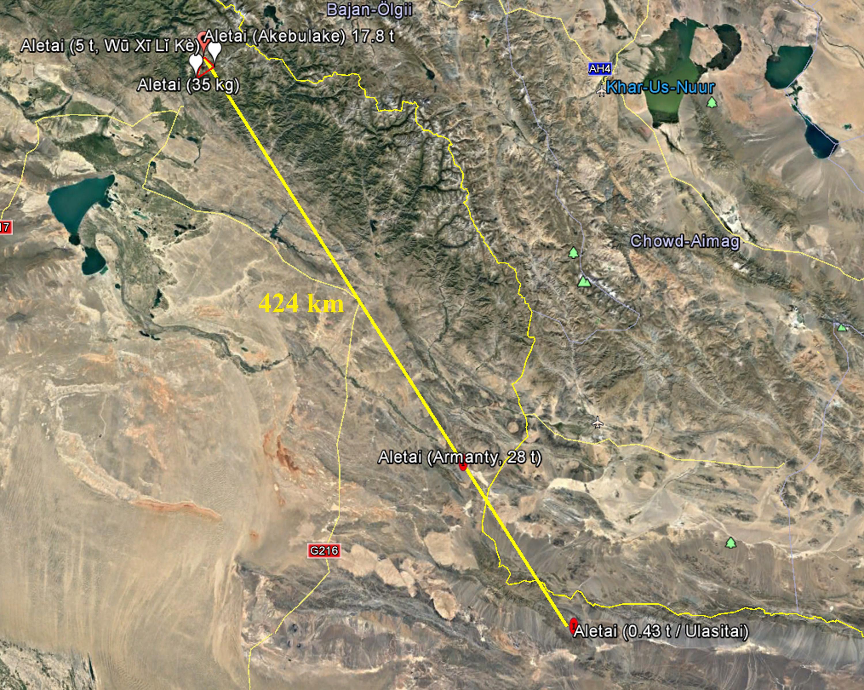 Location of five masses in the 424-km Aletai strewn field